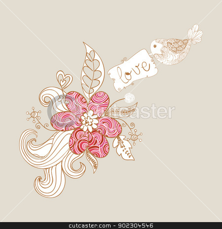 Valentine love birds and blossom stock vector clipart, Valentine day spring bird love background. Vector illustration layered for easy manipulation and custom coloring. by Cienpies Design