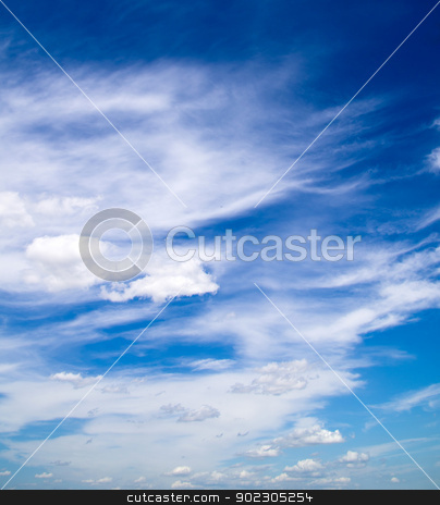 blue sky  stock photo, blue sky background with tiny clouds by Vitaliy Pakhnyushchyy
