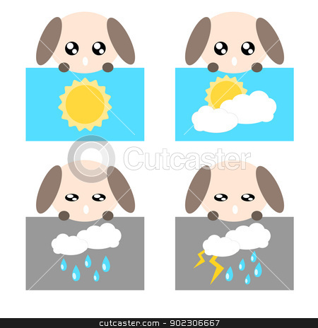 Paper weather dog icon illustration stock vector clipart, Paper weather icon dog sun cloud rain and lighting concept illustration by sweetcrisis