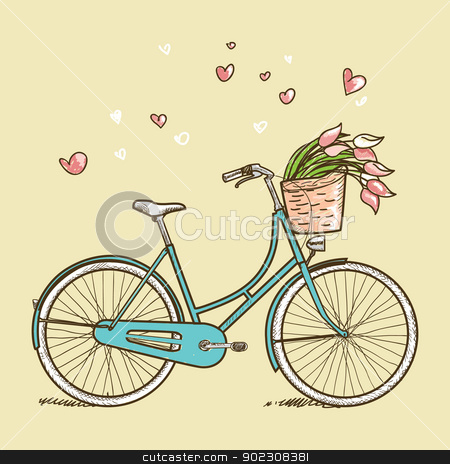 Vintage bicycle with flowers stock photo, Vintage bicycle with flowers, vector illustration by kariiika