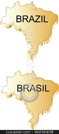 Brazil 3d Gold stock vector clipart, Brazilian Map 3d gold by Messias Bassile Junior