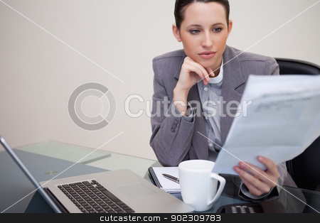 Businesswoman reading contract