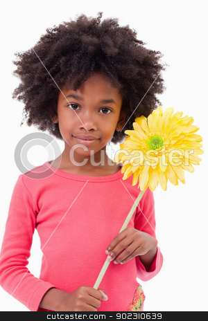 Portrait of a girl holding a flower stock photo, Portrait of a girl holding a flower against a white background by Wavebreak Media
