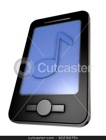 music app stock photo, smartphone with music note on display - 3d illustration by J?