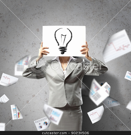 Business woman with board stock photo, Image of businesswoman holding message board against face. Conceptual photo by Sergey Nivens