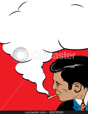 The smoker stock vector clipart, Comic style drawign of a vintage style man smoking. by Richard Laschon