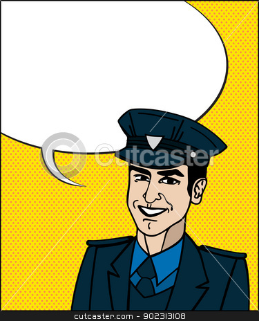 Pop Art cop stock vector clipart, Comic style drawing of a police officer friendly face with speech bubble  by Richard Laschon
