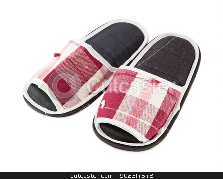 Slippers stock photo, A pair of red slippers isolated on white background by pattarastock