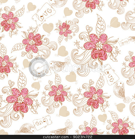 Spring time bird and blossom pattern stock vector clipart, Spring time flowers and love birds seamless pattern. Vector file layered for easy manipulation and custom coloring. by Cienpies Design