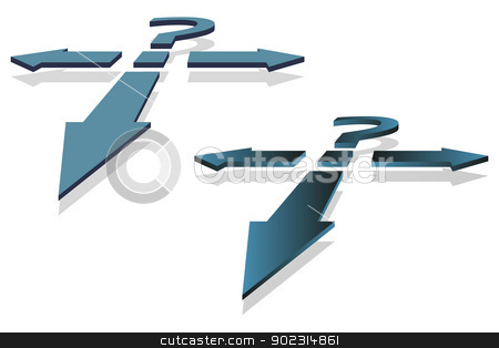 Question Mark and Arrows stock vector clipart, Question Mark and Arrows as decision making point vector image. by antkevyv
