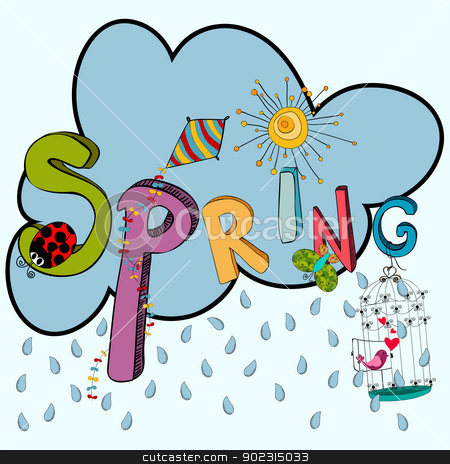 Spring raining cloud stock vector clipart, Cloud rain with vibrant spring elements: kite, ladybug, birds, flowers and butterfly. Vector file layered for easy manipulation and custom coloring. by Cienpies Design