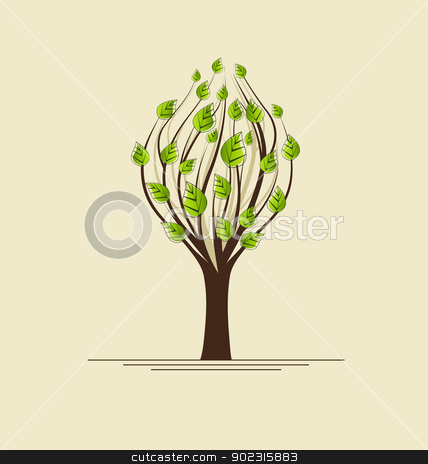 tree stock vector clipart, tree with green leaves with place for text by Miroslava Hlavacova