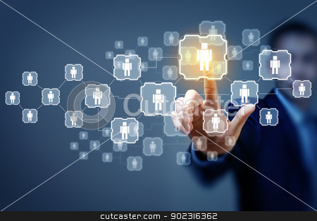 Image of male touching icon of social network stock photo, Image of male touching virtual icon of social network by Sergey Nivens