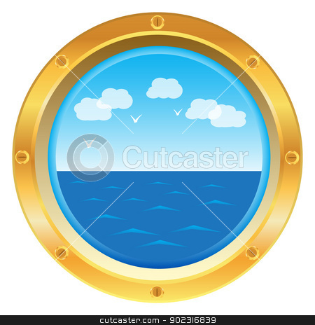 Yellow porthole window with sea view stock vector clipart, Golden yellow porthole window with sea view on white background by Iryna Rasko
