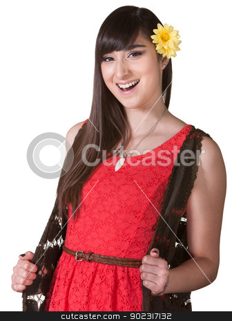 Happy Woman in Red Dress stock photo, Happy young woman in red over isolated background by Scott Griessel