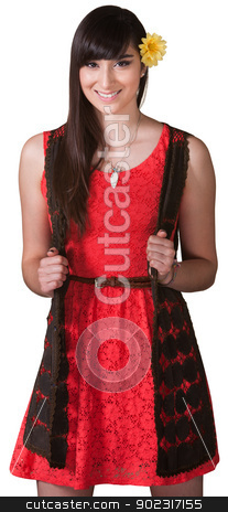 Energetic Young Lady in Red stock photo, Energetic Mexican woman in red and black on isolated background by Scott Griessel