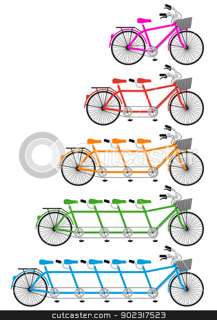 tandem bicycle set, vector stock vector clipart, tandem bicycle set, vector design elements by Beata Kraus