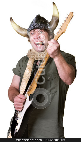 Heavy Metal Guitarist stock photo, Cigar smoking heavy metal guitarist with scarf by Scott Griessel