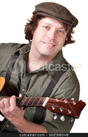 Smiling Guitar Player stock photo, Smiling Caucasian male with guitar over white background by Scott Griessel