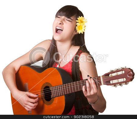 Silly Guitar Player stock photo, Goofy guitarist singing with eyes closed over white background by Scott Griessel