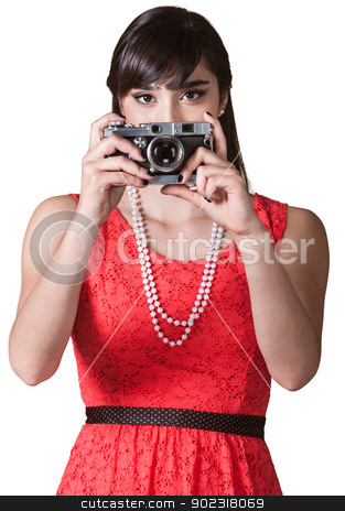 Woman with Camera stock photo, Pretty Mexican woman over white background taking pictures by Scott Griessel