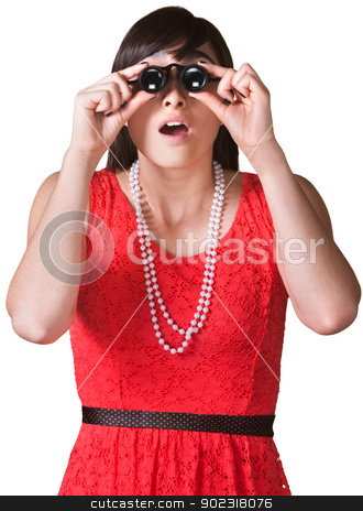 Surprised Woman with Jewelers Glasses stock photo, Surprised lady looking through jewelers glasses over white by Scott Griessel