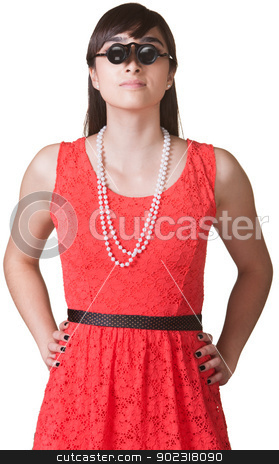 Woman with Jewelers Glasses stock photo, Woman with hands on hips wearing jewelers glasses by Scott Griessel