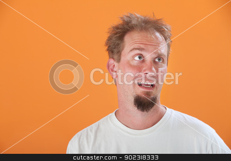 Disinterested Man stock photo, Disinterested Caucasian man with goatee on an orange background by Scott Griessel
