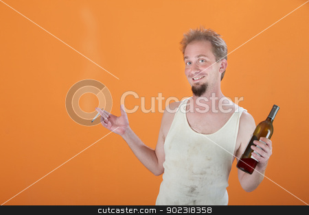 Happy Addict stock photo, Happy Caucasian man holding a bottle and a cigarette  by Scott Griessel
