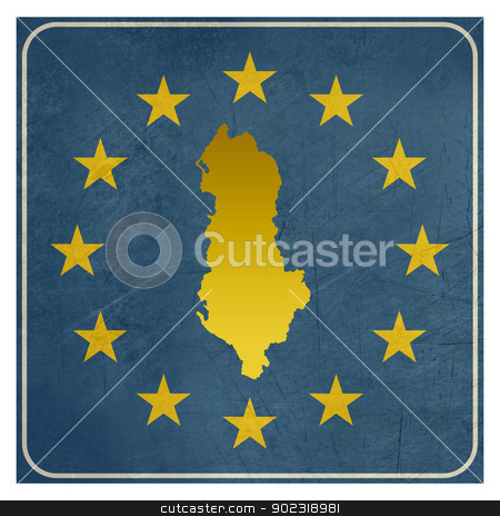 Albanian European button stock photo, Albanian European button isolated on white background with copy space.  by Martin Crowdy