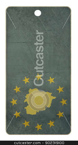 European union Andorra travel tag stock photo, European union Andorra travel tag isolated on white background with copy space.  by Martin Crowdy