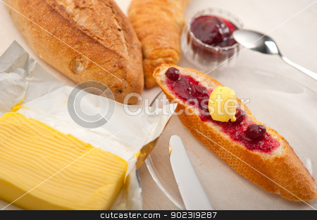 bread butter and jam  stock photo, bread butter and jam classic European breakfast by Francesco Perre
