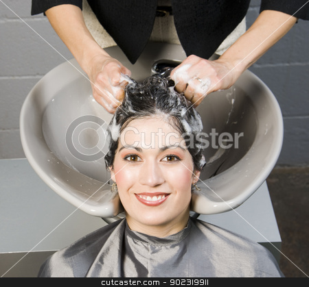Attractive Woman Gets Spa Salon Shampoo and Conditioning stock photo, Attractive Woman Gets Spa Salon Shampoo and Conditioning by Christopher Boswell