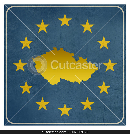 Czech Republic European sign stock photo, Czech Republic European sign isolated on white background with copy space.  by Martin Crowdy