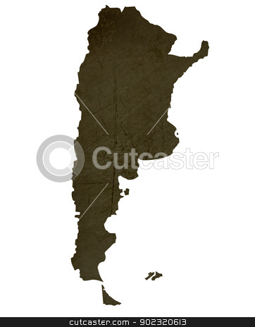 Dark silhouetted map of Argentia stock photo, Dark silhouetted and textured map of Argentia isolated on white background. by Martin Crowdy