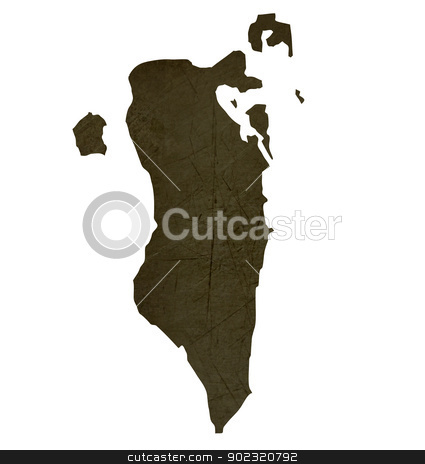 Dark silhouetted map of Bahrain stock photo, Dark silhouetted and textured map of Bahrain isolated on white background. by Martin Crowdy