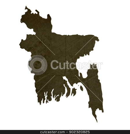 Dark silhouetted map of Bangladesh stock photo, Dark silhouetted and textured map of Bangladesh isolated on white background. by Martin Crowdy