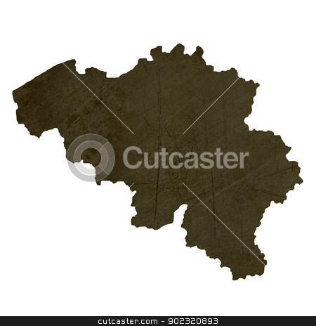 Dark silhouetted map of Belgium stock photo, Dark silhouetted and textured map of Belgium isolated on white background. by Martin Crowdy