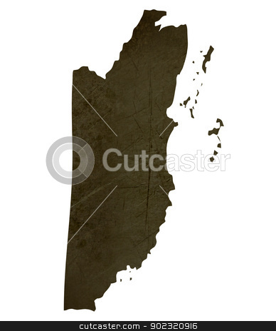 Dark silhouetted map of Belize stock photo, Dark silhouetted and textured map of Belize isolated on white background. by Martin Crowdy