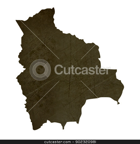 Dark silhouetted map of Bolivia stock photo, Dark silhouetted and textured map of Bolivia isolated on white background. by Martin Crowdy