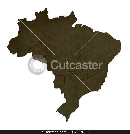 Dark silhouetted map of Brazil stock photo, Dark silhouetted and textured map of Brazil isolated on white background. by Martin Crowdy