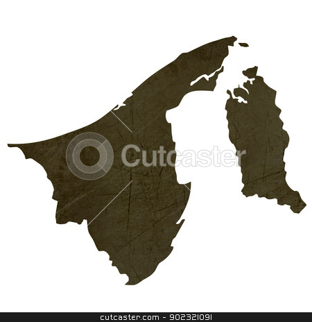 Dark silhouetted map of Brunei stock photo, Dark silhouetted and textured map of Brunei isolated on white background. by Martin Crowdy