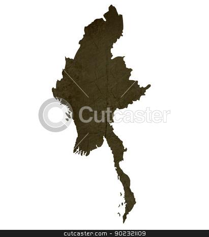 Dark silhouetted map of Burma stock photo, Dark silhouetted and textured map of Burma isolated on white background. by Martin Crowdy