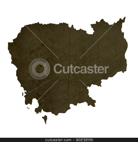 Dark silhouetted map of Cambodia stock photo, Dark silhouetted and textured map of Cambodia isolated on white background. by Martin Crowdy