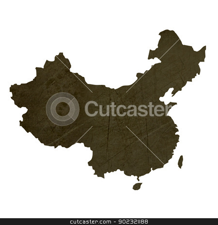 Dark silhouetted map of China stock photo, Dark silhouetted and textured map of China isolated on white background. by Martin Crowdy