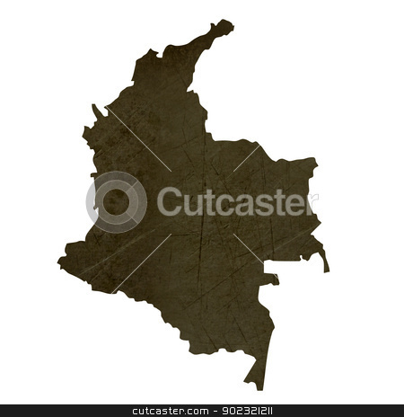 Dark silhouetted map of Columbia stock photo, Dark silhouetted and textured map of Columbia isolated on white background. by Martin Crowdy