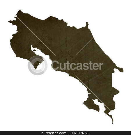 Dark silhouetted map of Costa Rica stock photo, Dark silhouetted and textured map of Costa Rica isolated on white background. by Martin Crowdy