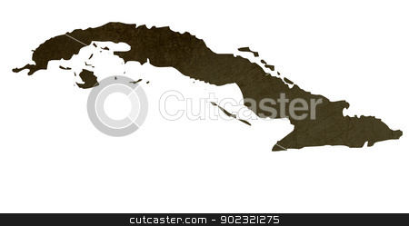 Dark silhouetted map of Cuba stock photo, Dark silhouetted and textured map of Cuba isolated on white background. by Martin Crowdy