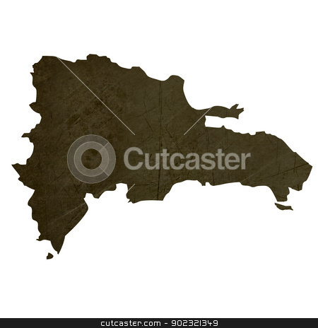 Dark silhouetted map of Dominican Republic stock photo, Dark silhouetted and textured map of Dominican Republic isolated on white background. by Martin Crowdy