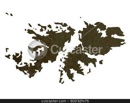 Dark silhouetted map of Falkland Islands stock photo, Dark silhouetted and textured map of Falkland Islands isolated on white background. by Martin Crowdy